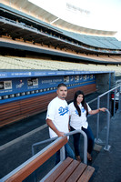 enagement pictures at Los Angeles Dodgers Stadium, www.gustavovillarrealphotography.com, 323-633-8283